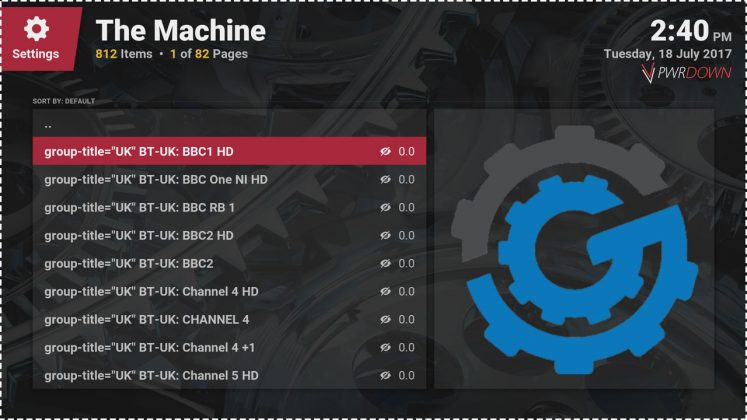 Kodi The Machine Add-on IPTV