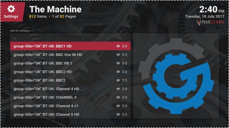 Kodi The Machine Add-on IPTV