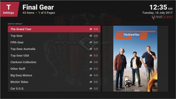 Kodi Final Gear Available shows