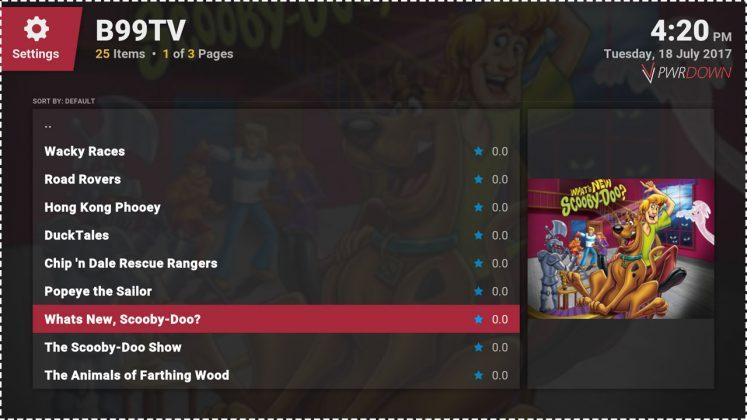 Kodi B99TV Cartoons add-on TV Shows list