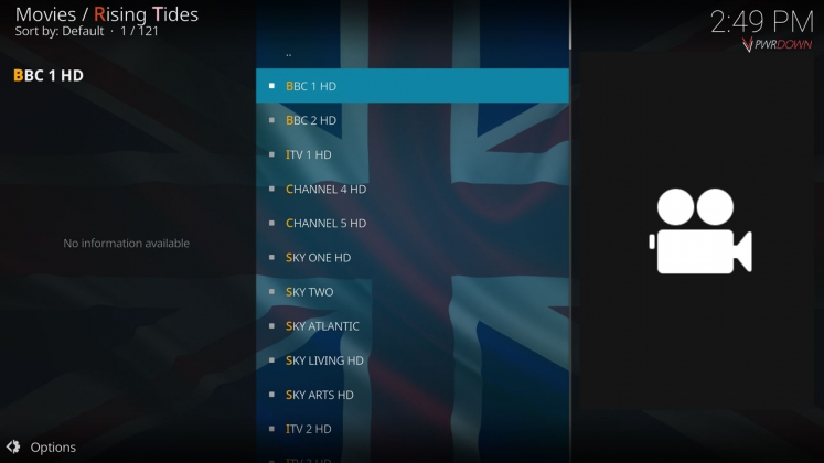 Rising Tides Kodi add-on UK TV Channels