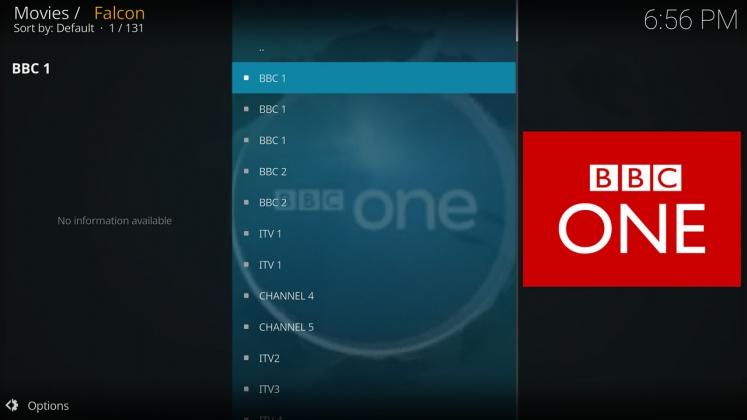 Kodi Falcon Add-on UK TV Channels