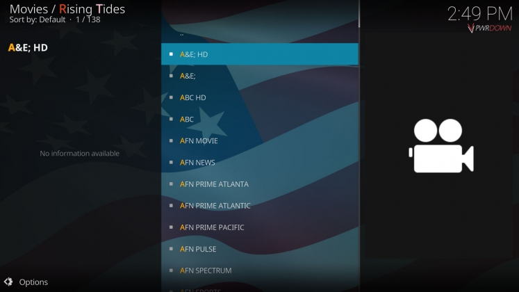 Rising Tides Kodi add-on USA TV Channels
