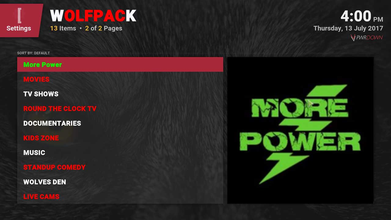 Kodi WolfPack Home menu