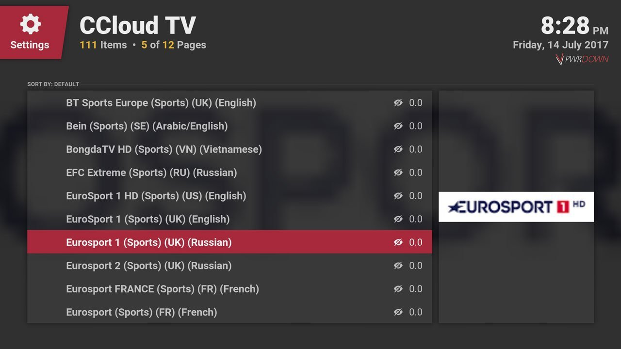 cCloud TV Live Sports area in Kodi