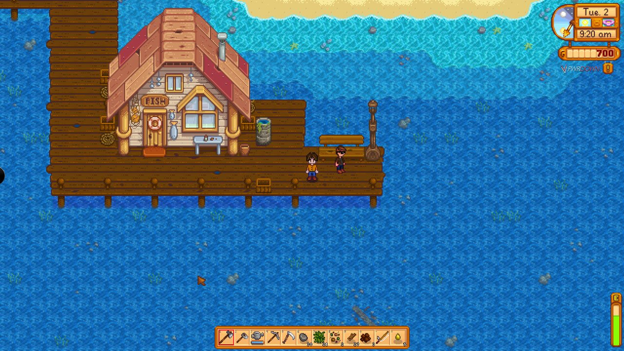 Stardew Valley Multiplayer mod Makeshift Multiplayer, waiting on the dock