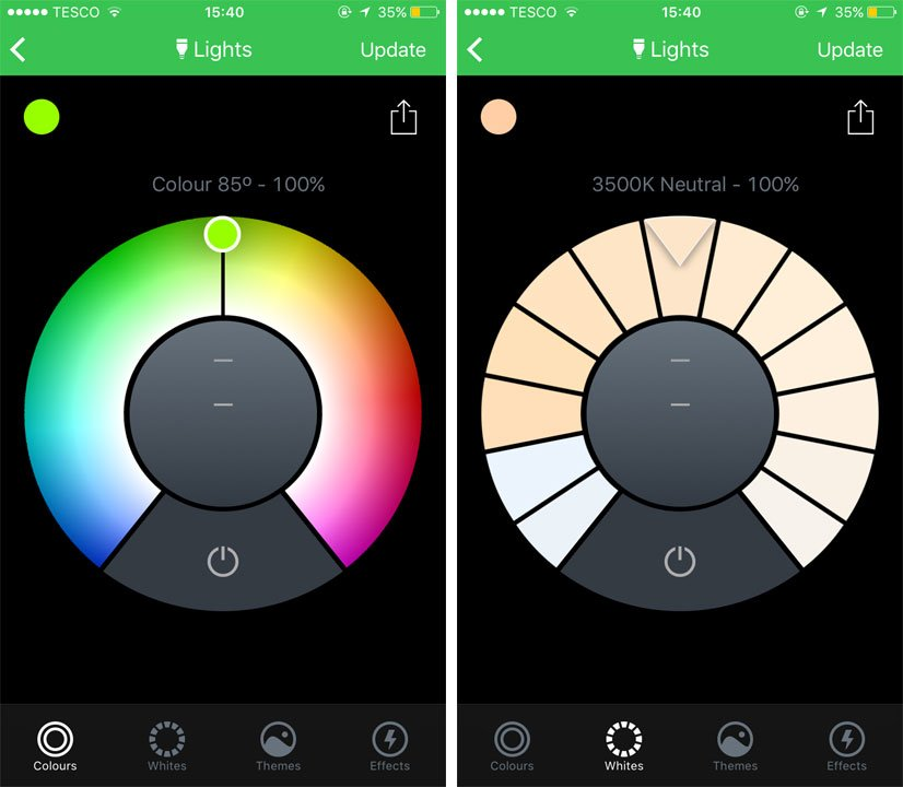 LIFX Smart Bulb app showing Colours and Whites