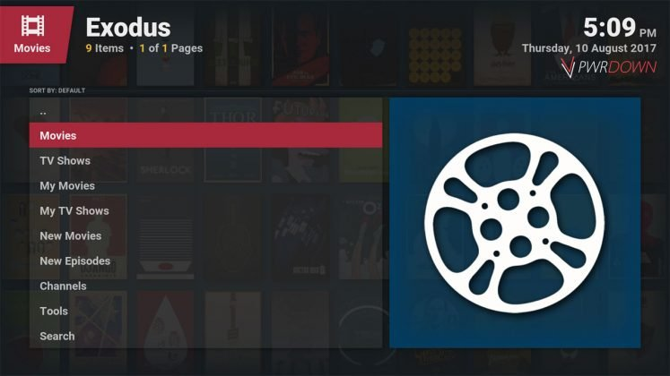 Kodi Exodus Add-on Home