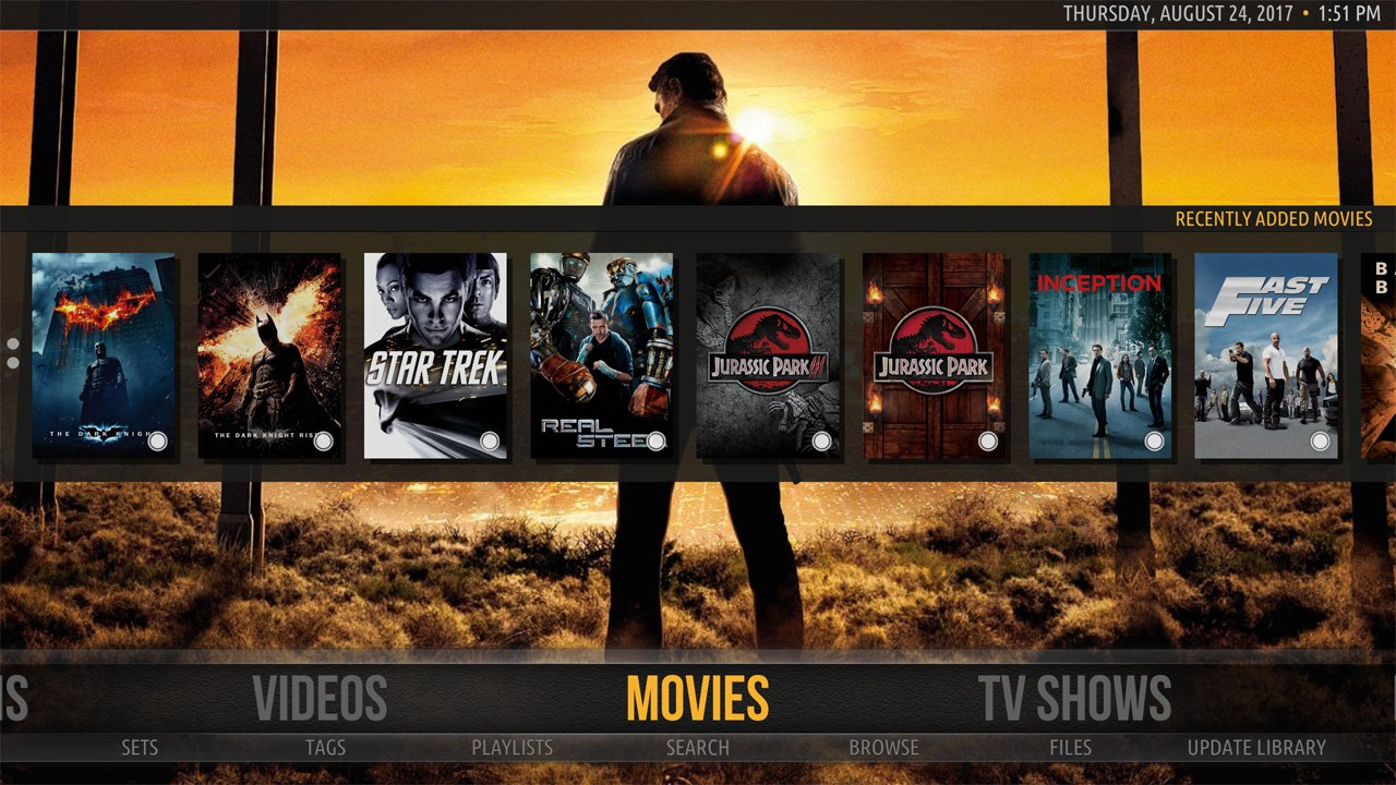 Kodi Amber Skin Home Screen