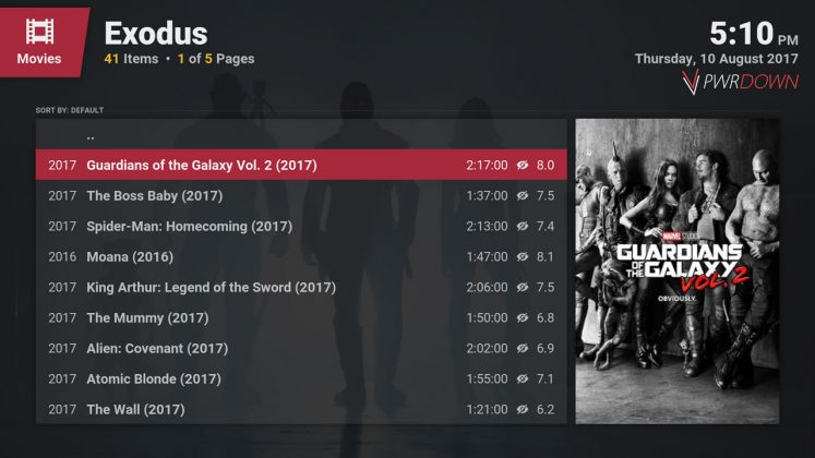 Kodi Exodus Add-on Popular Movies