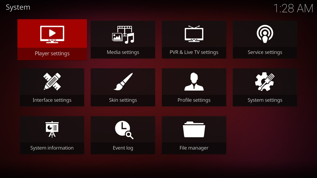 Kodi Estuary Skin Settings menu