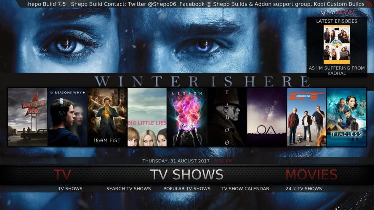 Kodi Shepo Build TV Shows