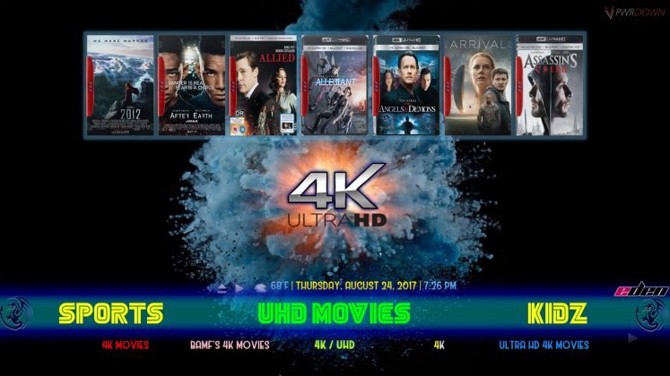 Kodi Eden Builds UHD Movies