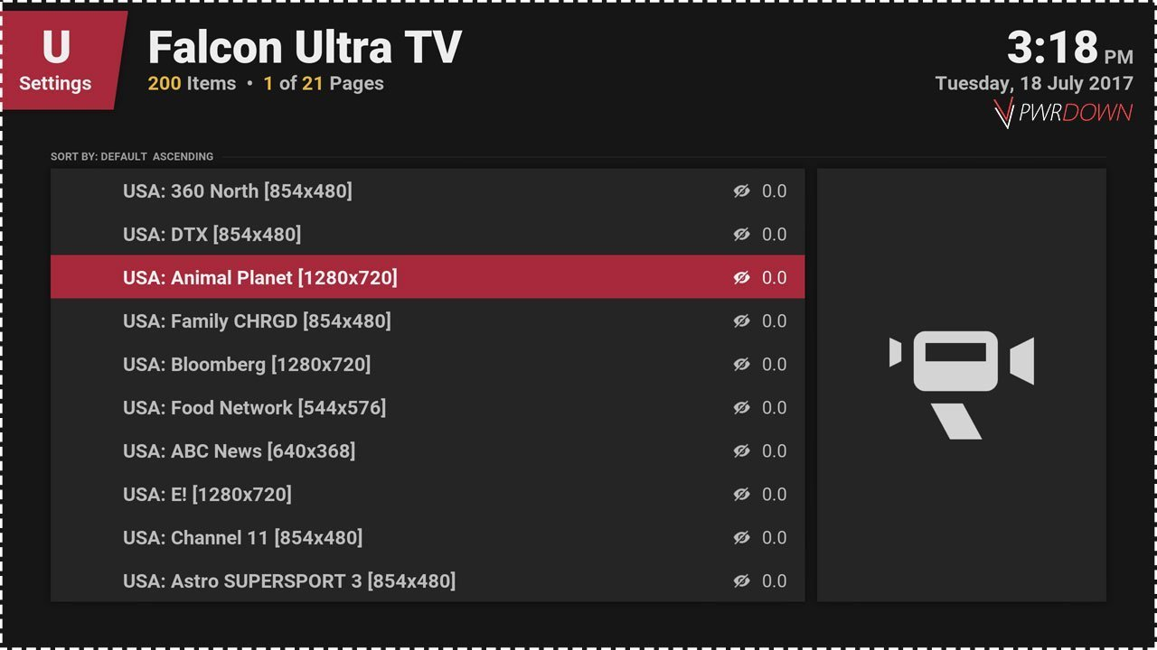 Falcon Ultra TV Add-on from the SuperRepo Kodi Repository