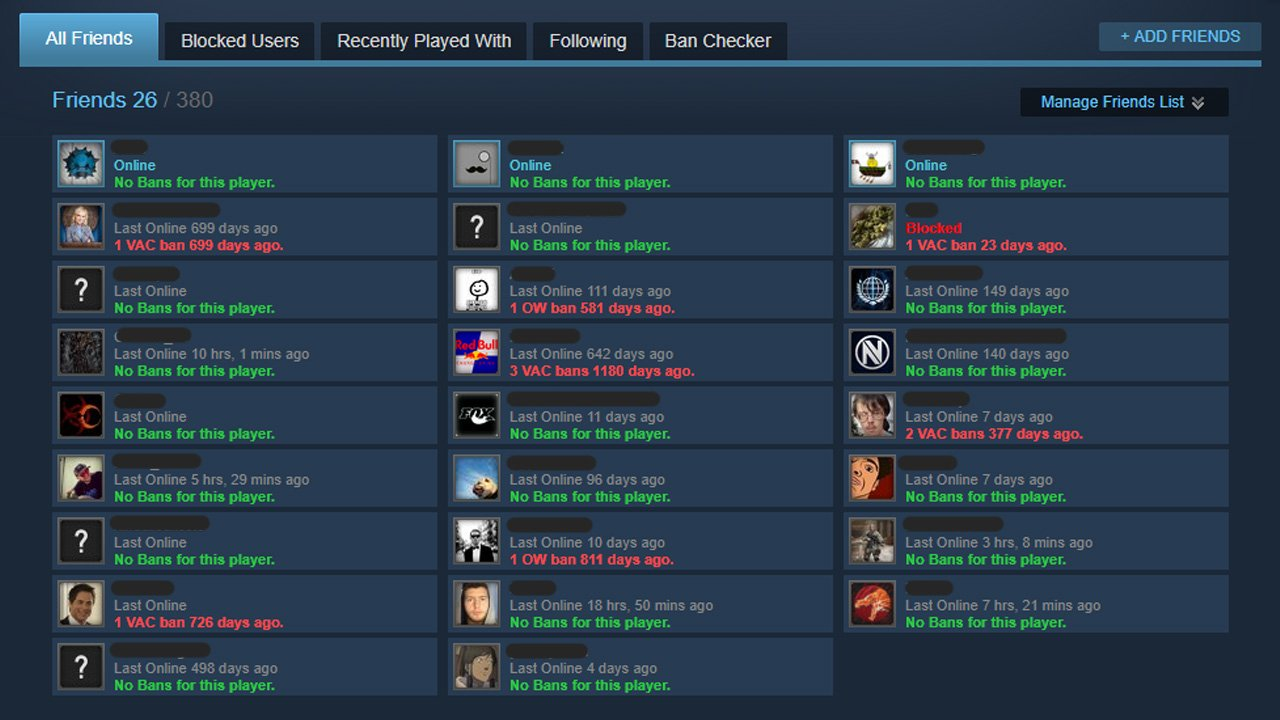 VAC Banned friends list