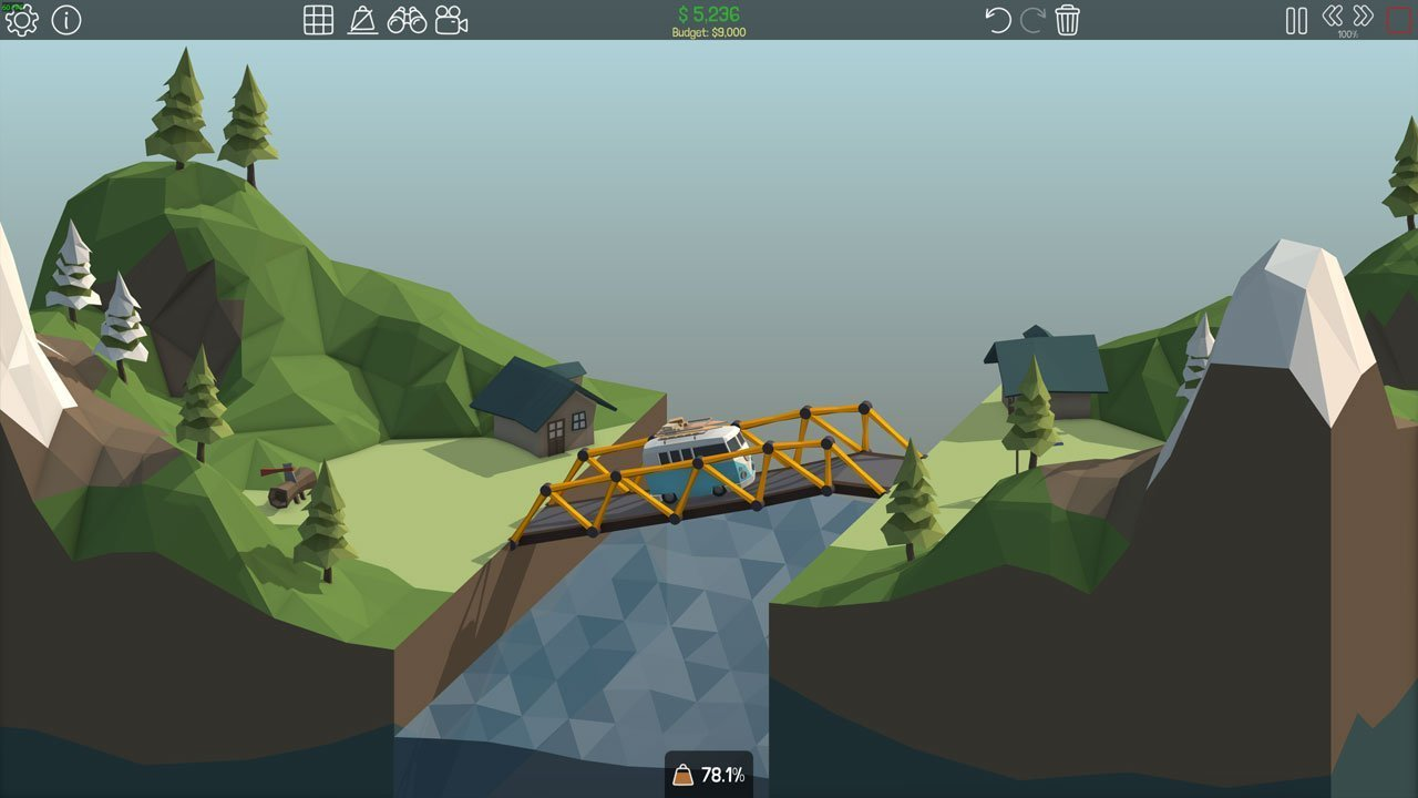 Poly Bridge 1-4 Slanted Bridge