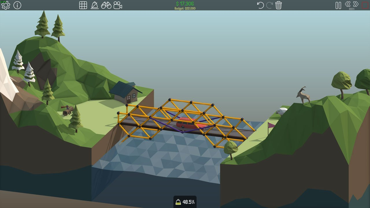 Poly Bridge 1-9: Paddleboat Drawbridge