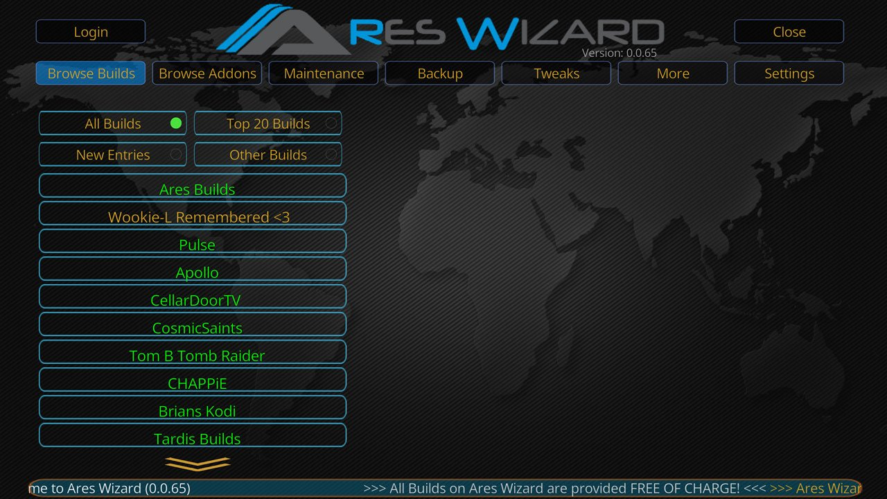 Kodi Ares Repository Ares Wizard