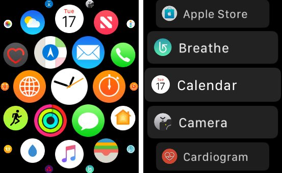 Apple Watch 3 review Applications list & Grid view