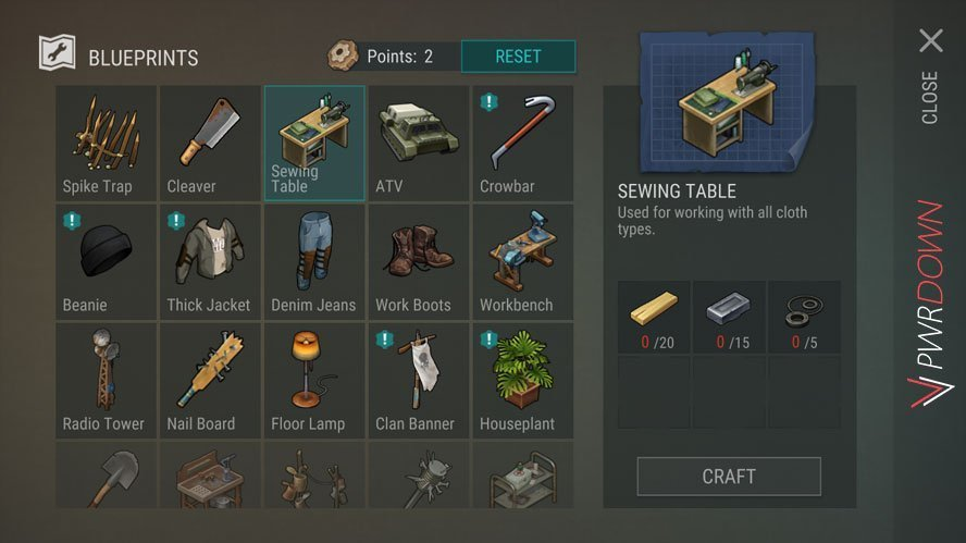 Last Day on Earth Crafting menu