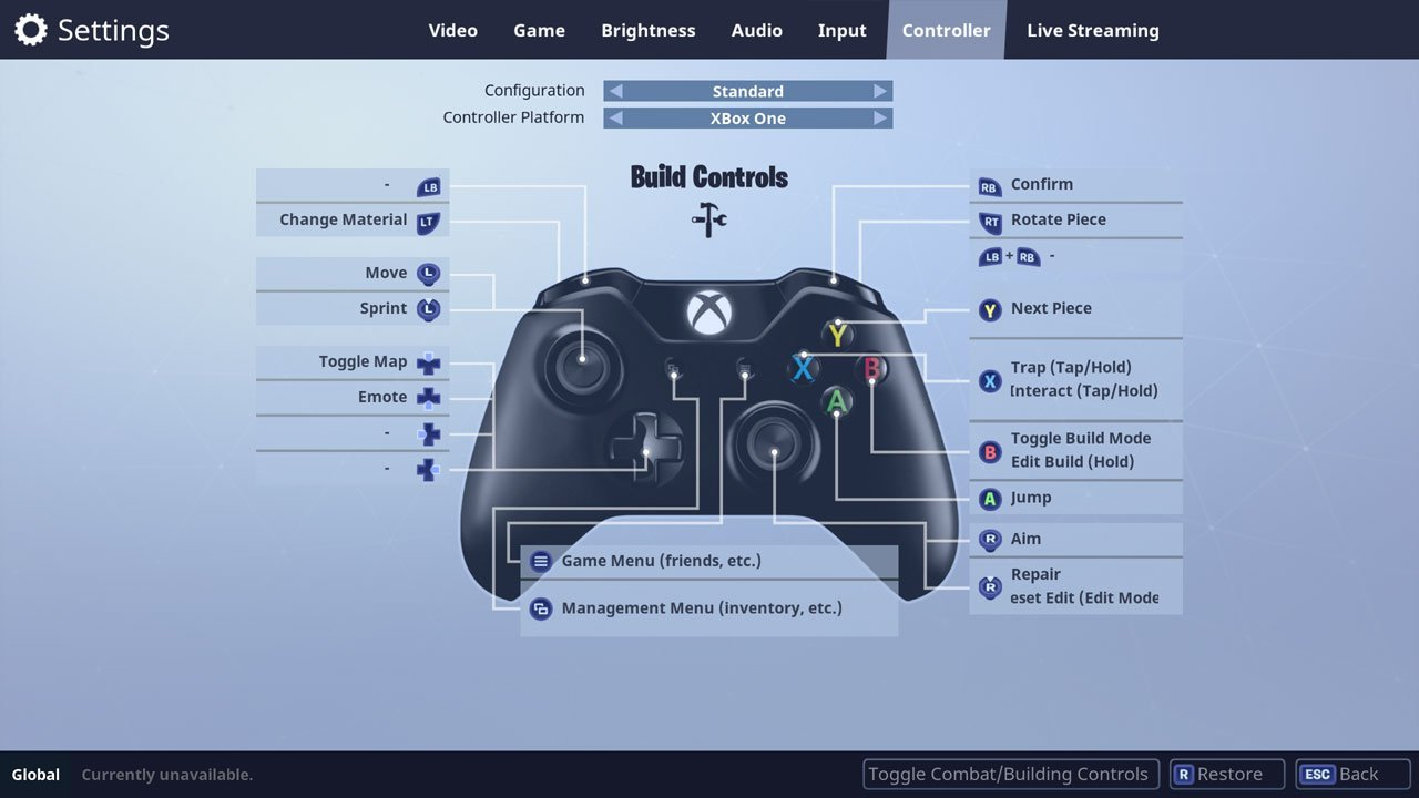 change default controls in fortnite controller settings