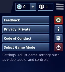 click the cog to open the settings area - controls on fortnite switch