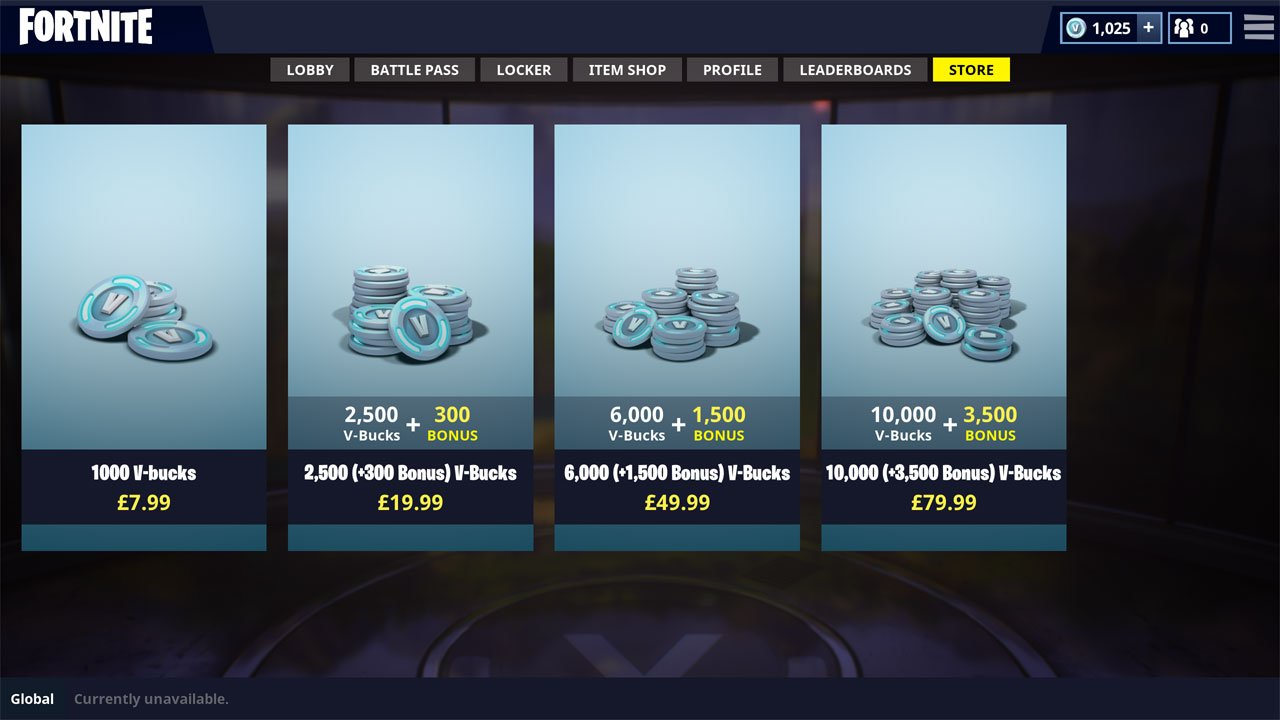 V-Bucks pricing in Fortnite Battle Royale