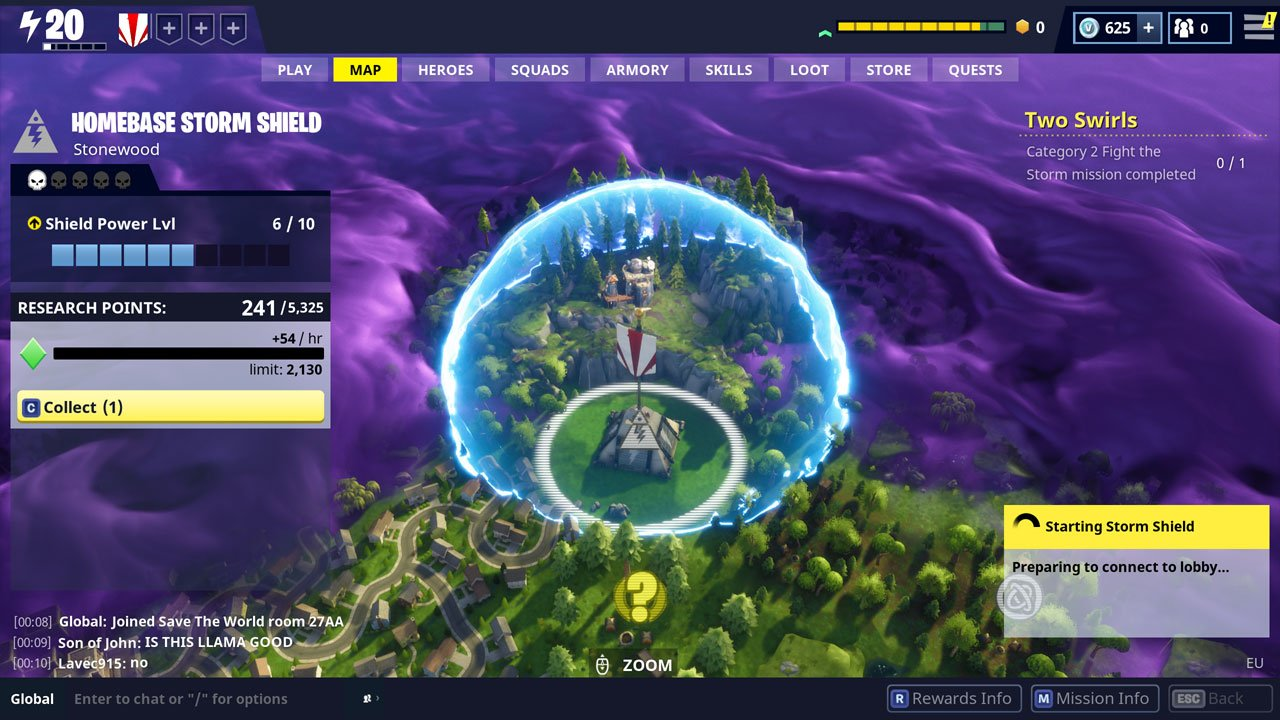 fortnite how to access storm shield storage head to home base