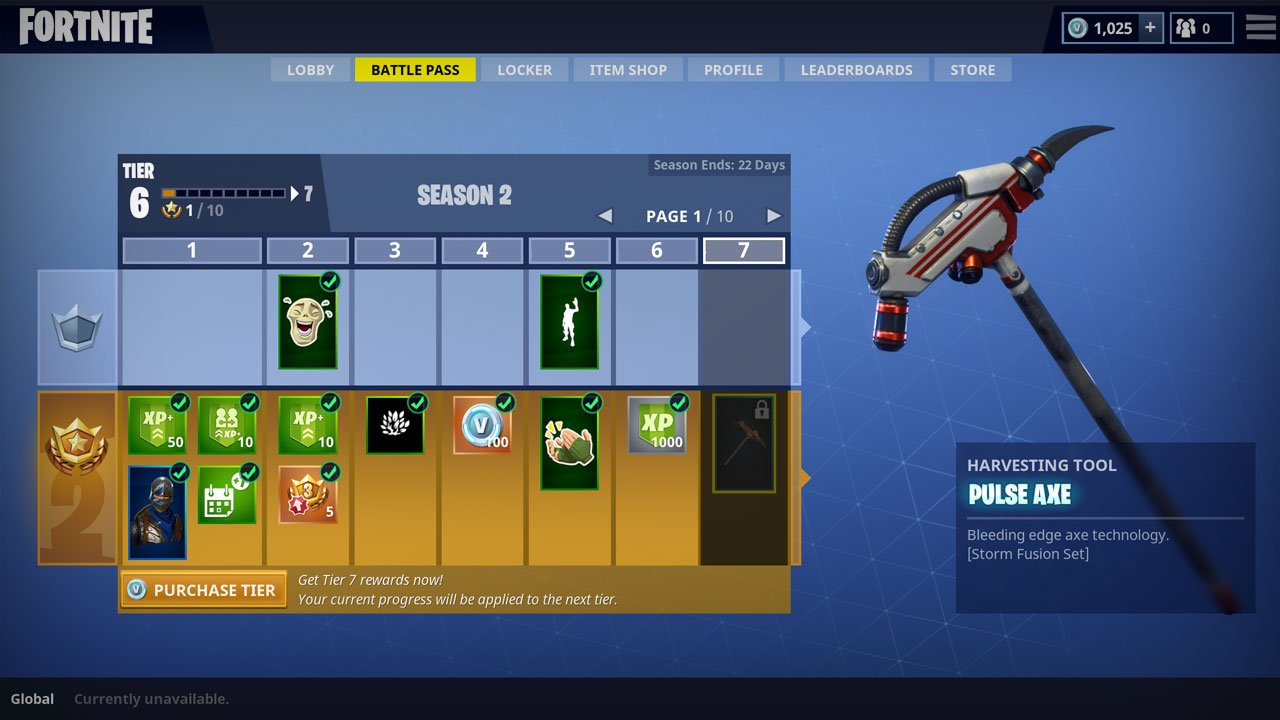 Fortnite Battle Royale battle pass rewards