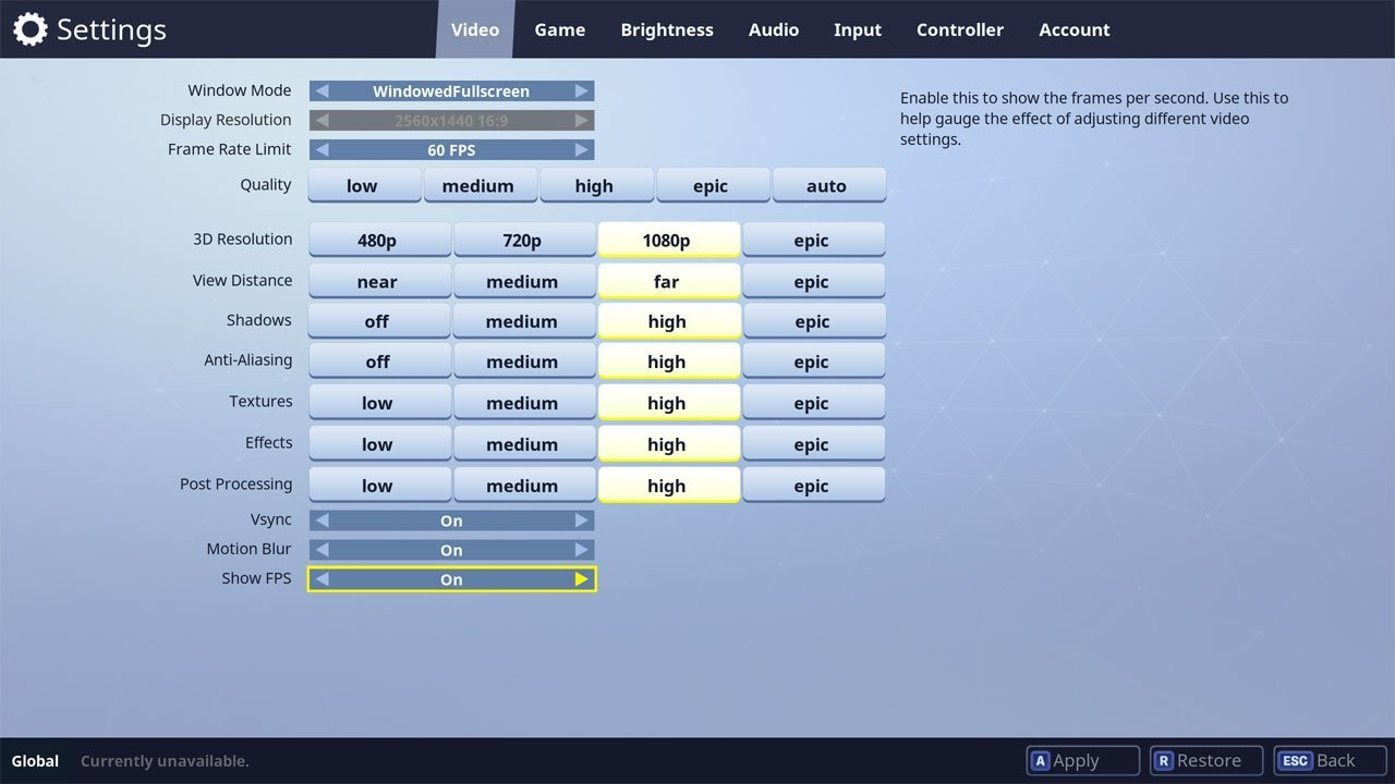 choose the show fps option under the video tab - how to get your ping down in fortnite