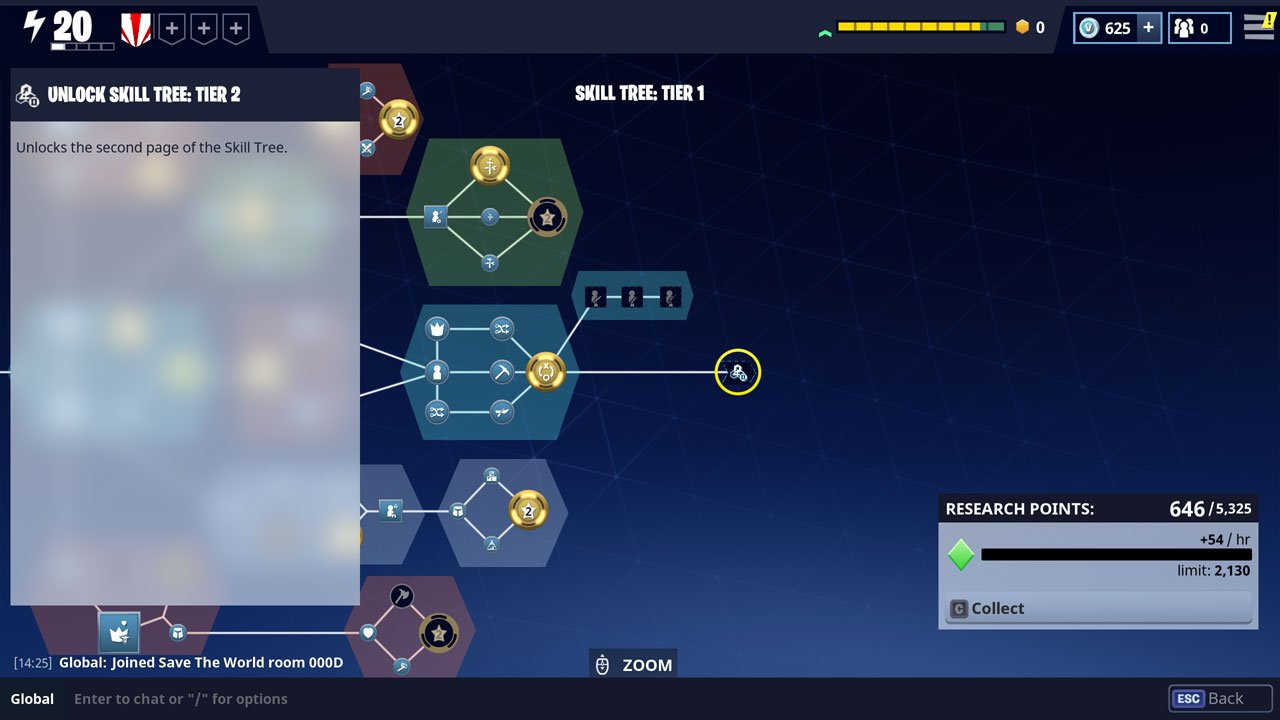 how to unlock skill tree tier 2 in fortnite select the far right node in skill tree 1