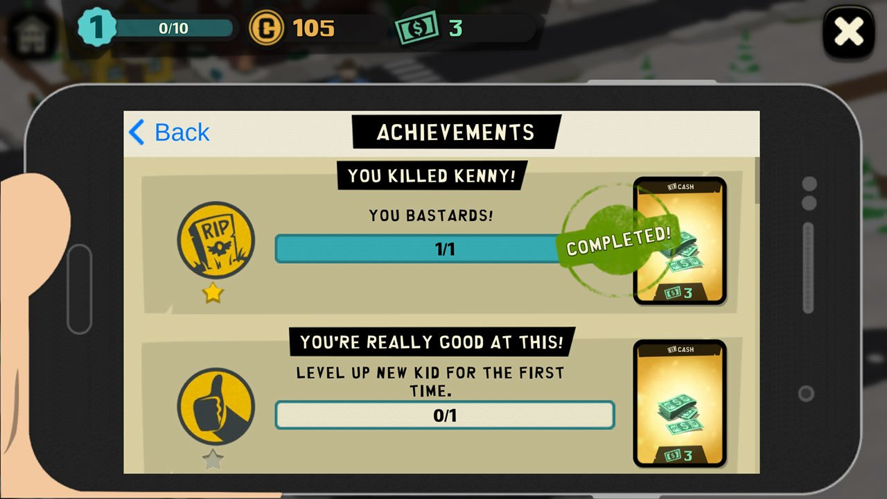 south park phone destroyer look at the list of achievements as well as rewards