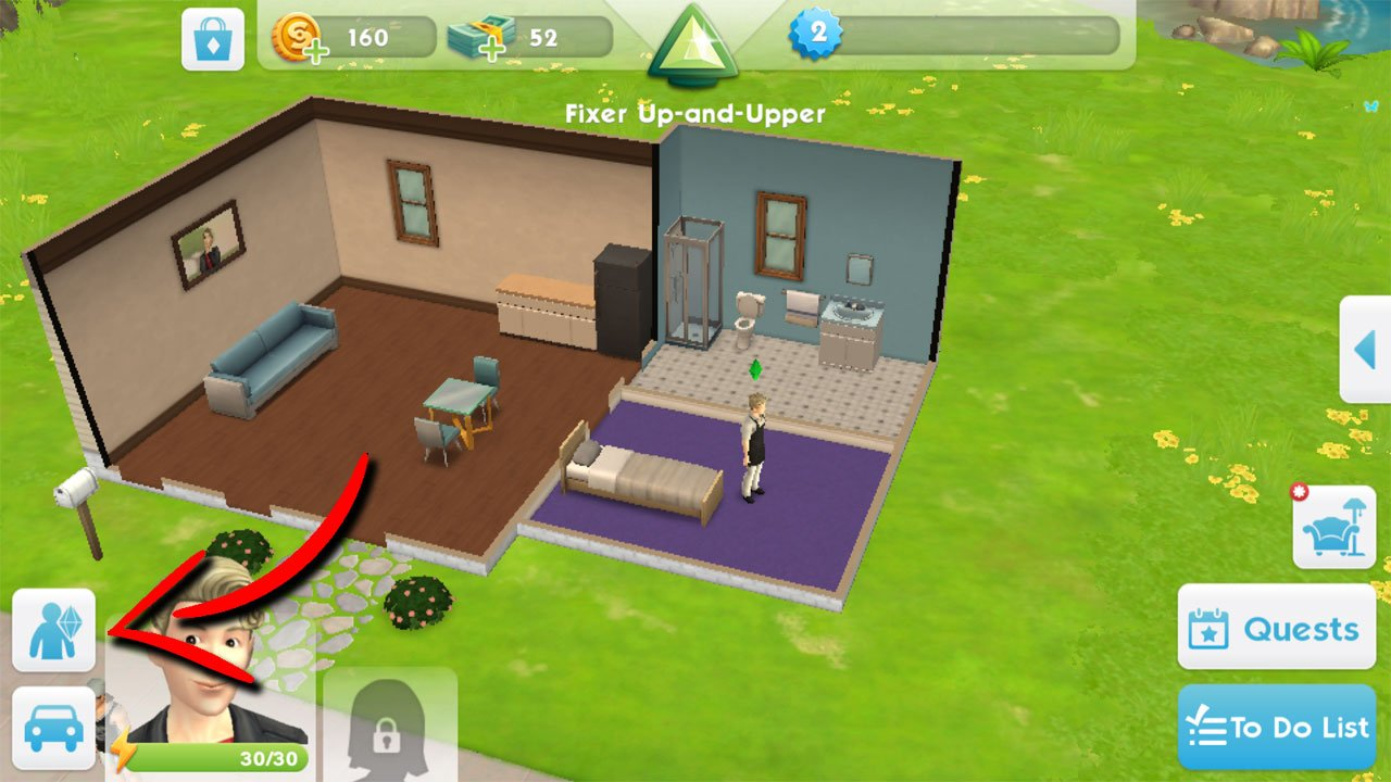 how to change a sims appearance in the sims mobile select the my sim button
