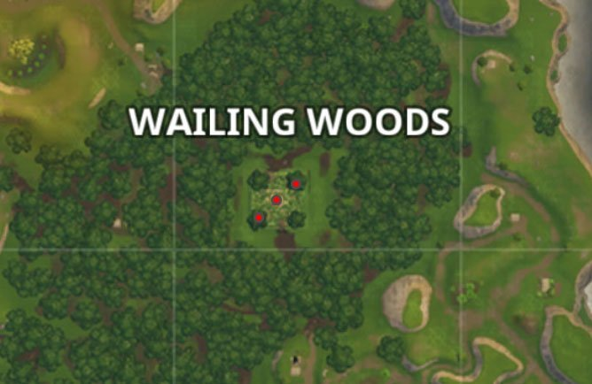 fortnite battle royale wailing woods chest locations map battle pass challenge