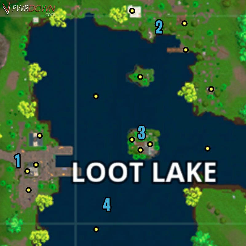 map of chest locations at loot lake marked as a circle - fortnite update loot lake