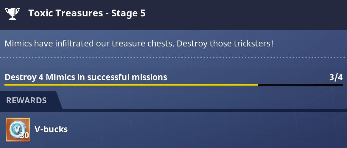 Side Quests and challenges offer between 30 and 100 VBucks