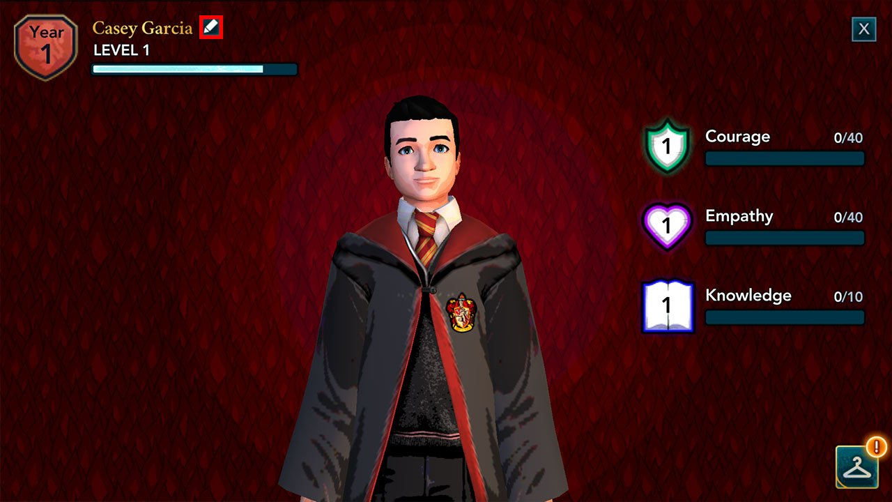 choose to edit your player name in harry potter