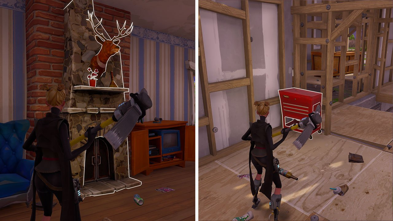Search fireplaces and red tool boxes in fortnite to farm coal