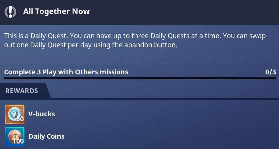 Daily Quests provide 50 VBucks per quest, which can be spent in battle royale