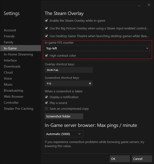 enabling the fps counter through steam