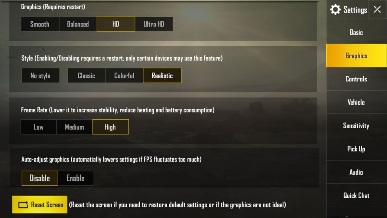 best settings for pubg