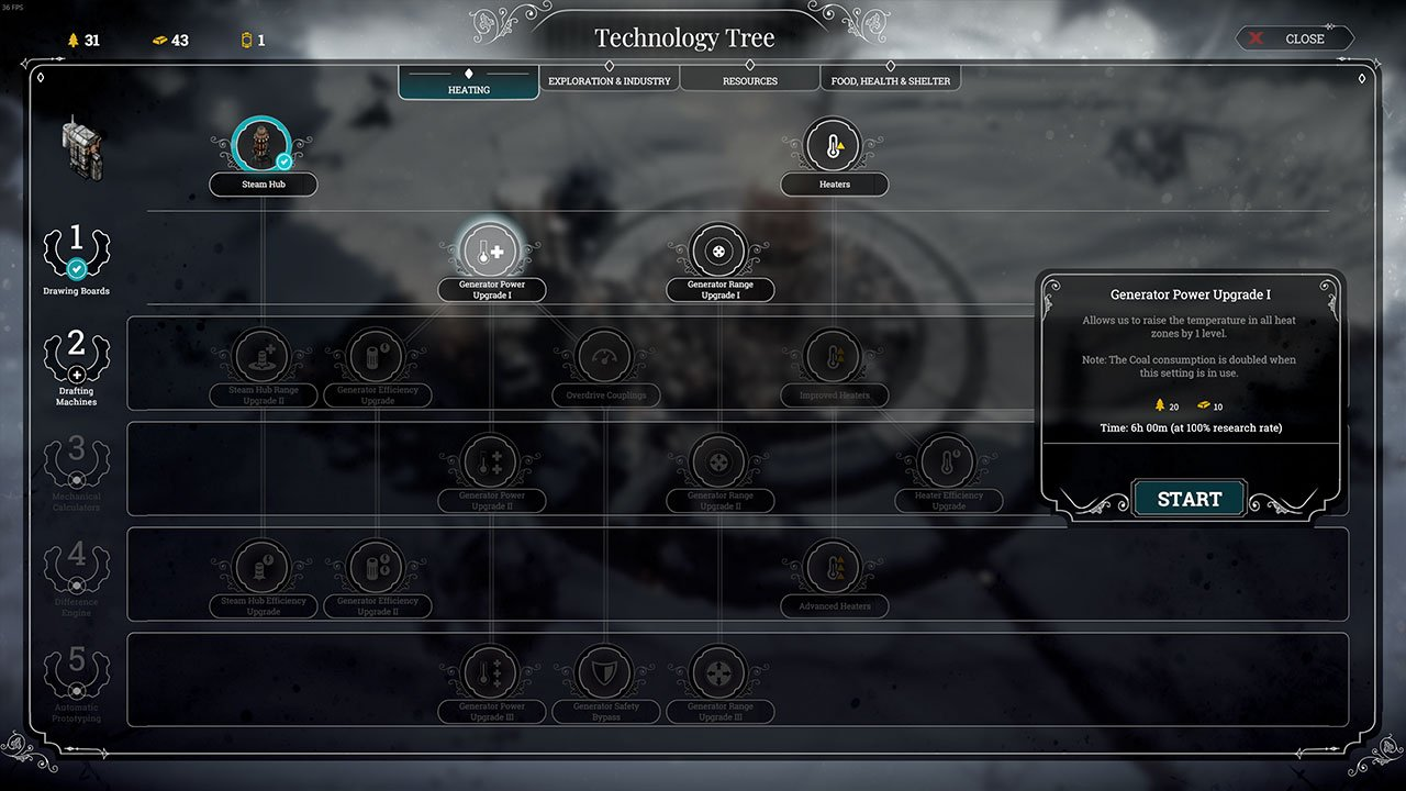 frostpunk generator upgrades in technology tree