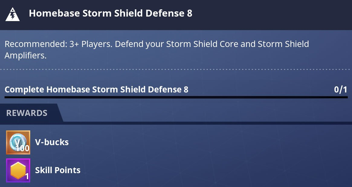 Storm Shield Defense missions in PvE give 100 vbucks
