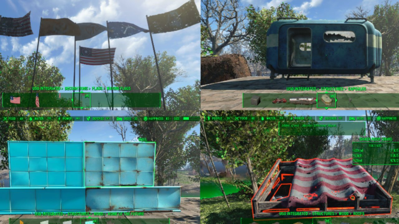 fallout 4 settlement and building mods for ps4 unlocked settlement objects