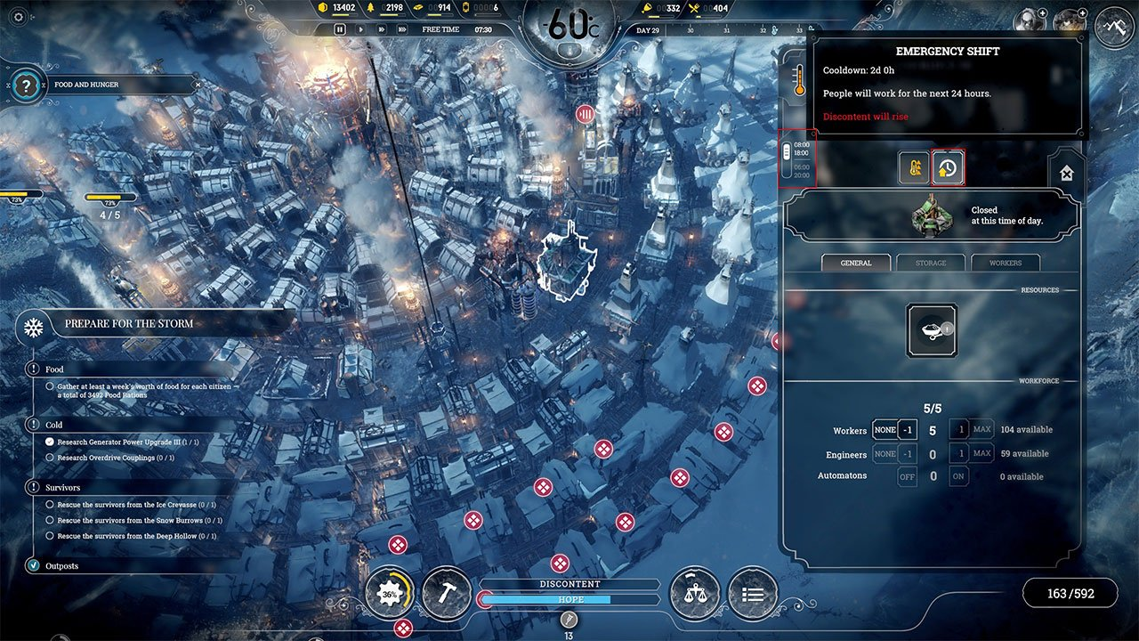 frostpunk how to use an emergency or extended shift