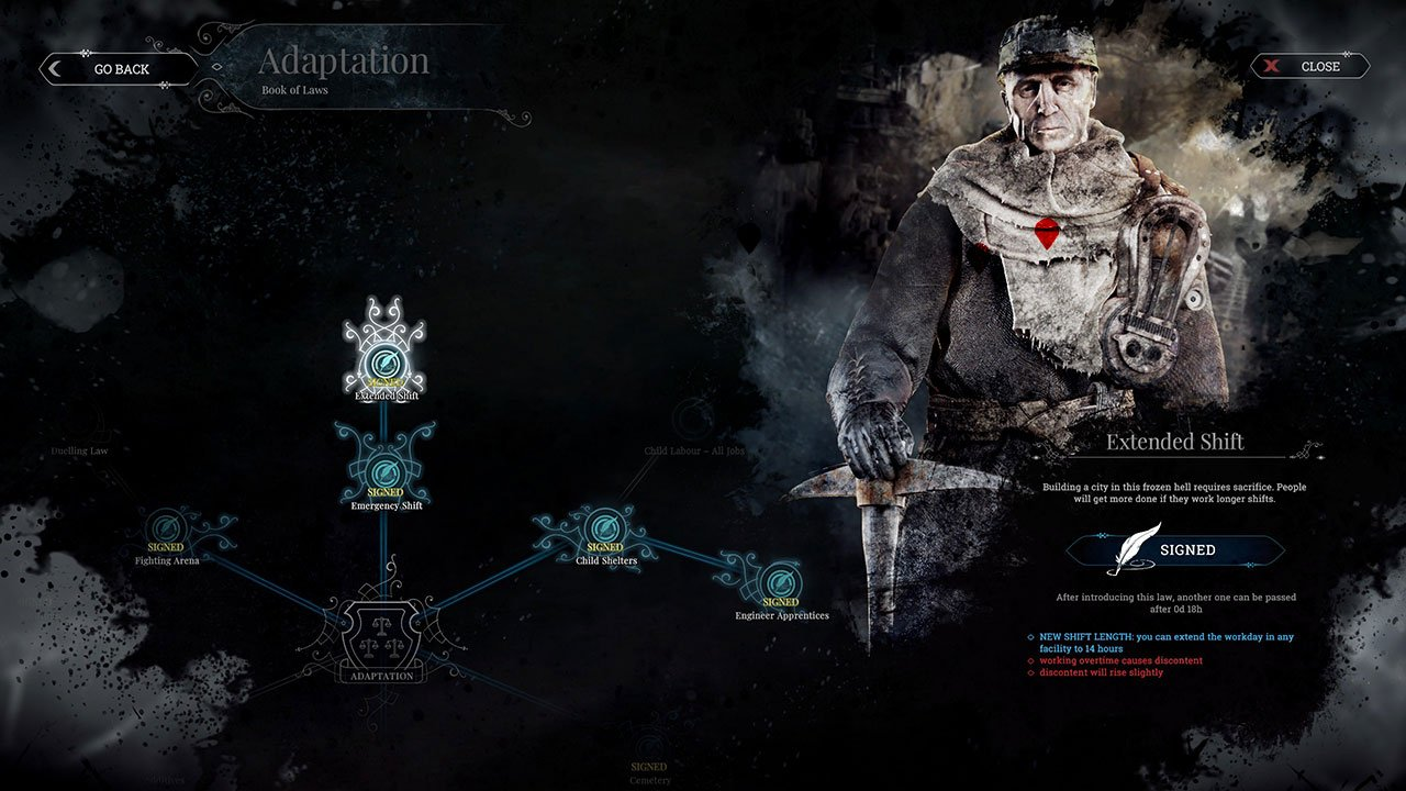 frostpunk use extended shifts to make people research longer