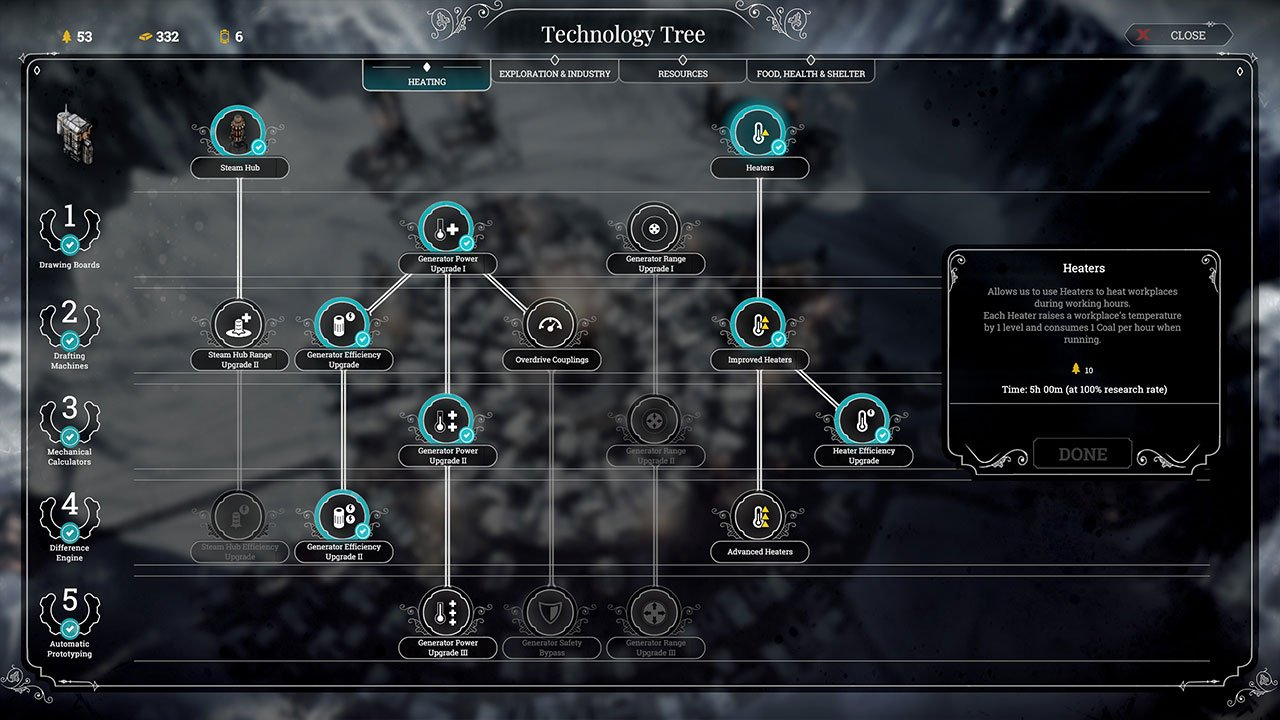 Frostpunk Technology Tree Heating Tab Keep Houses Warm