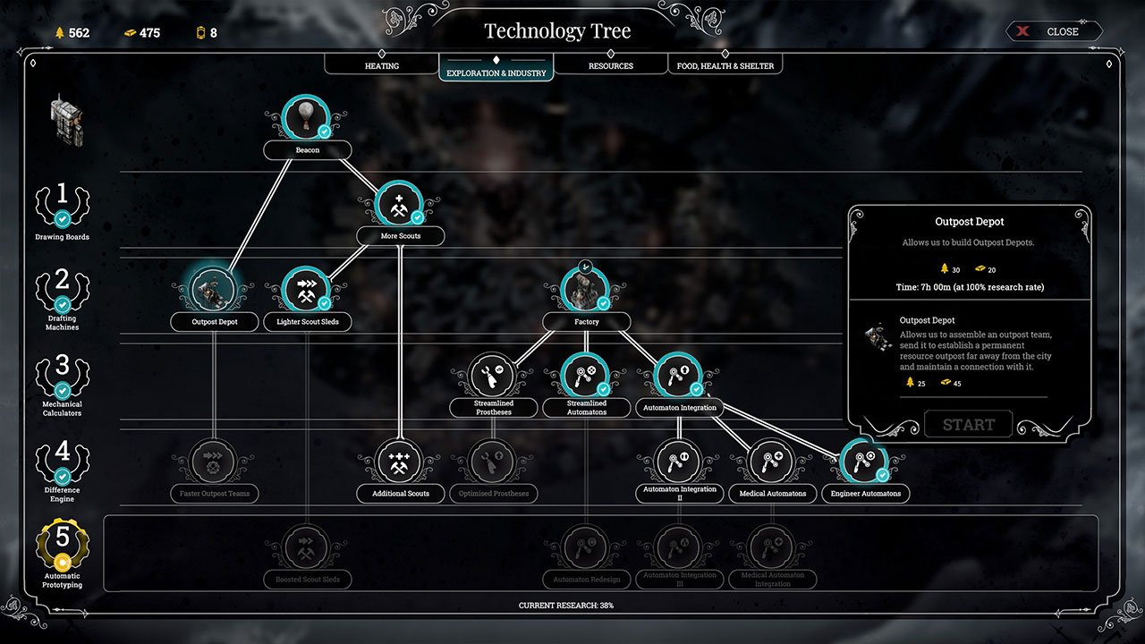 outpost depot in the research tree frostpunk