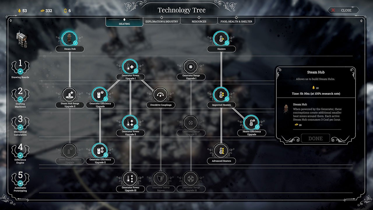 steam hub research to keep arms warm frostpunk