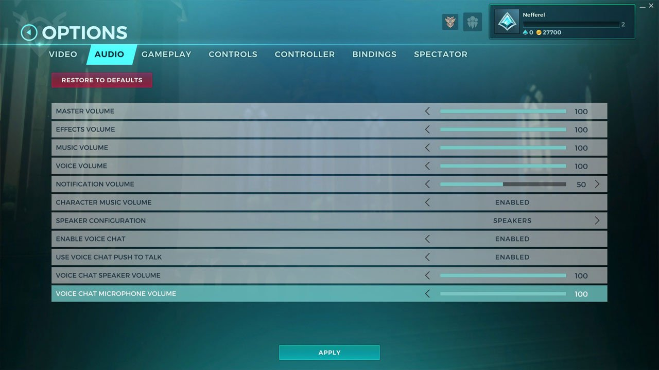 paladins configure voice chat